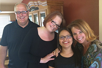 CMomA Founder Marcy Cole visits Jo, Jeff and Aleja - CMomA Adoption Grant Recipients